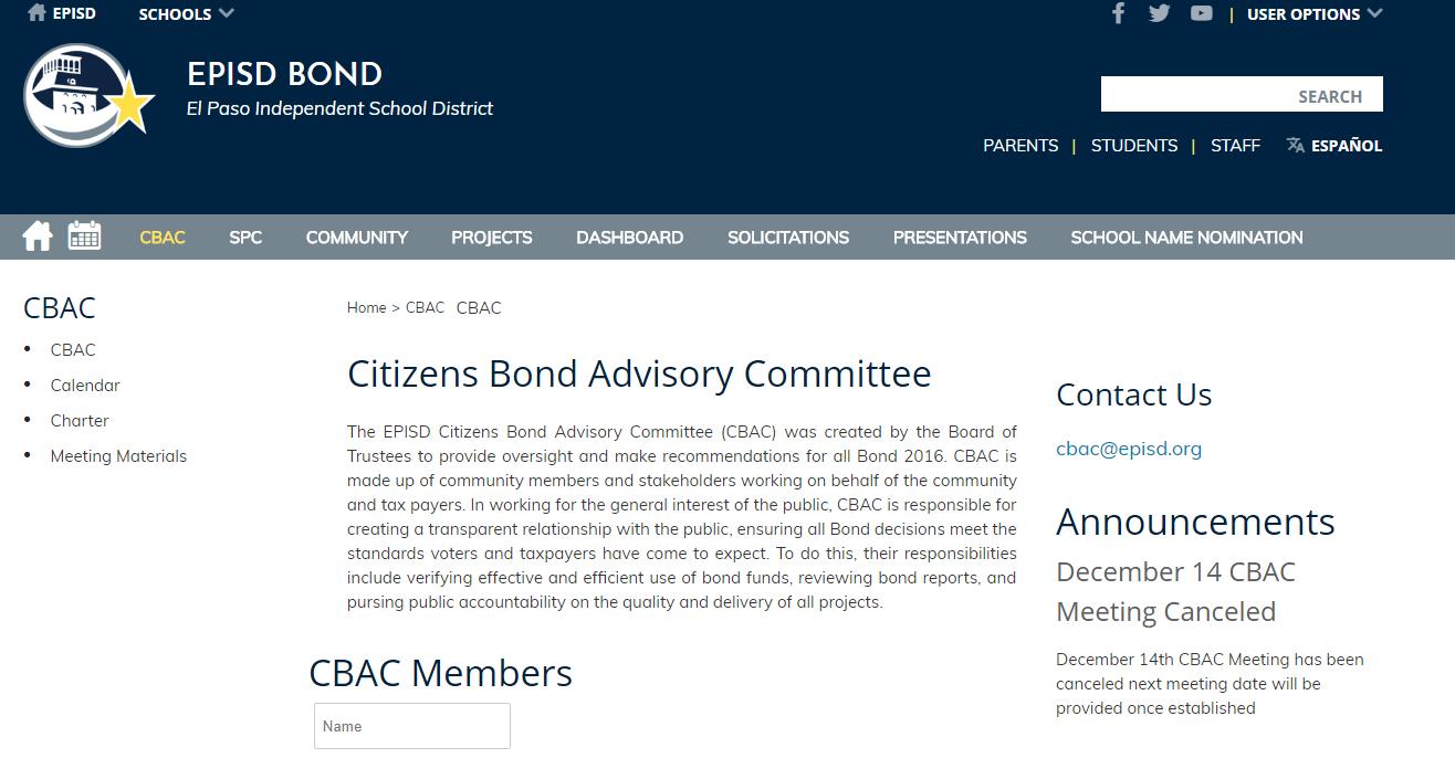 Episd Bond Advisory Committee Elpasospeak